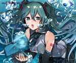 1girl air_bubble aqua_eyes aqua_hair breath bubble bubble_blowing hatsune_miku long_hair music musical_note necktie singing skirt solo submerged tagme twintails underwater vocaloid