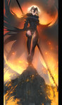 1girl absurdres ankle_boots armor armored_boots black_cape black_legwear black_leotard black_skirt blonde_hair boots breasts burning cape commentary_request fate/grand_order fate_(series) fire flag fur-trimmed_cape fur_trim headpiece highleg highleg_leotard highres jeanne_d'arc_(alter)_(fate) jeanne_d'arc_(fate)_(all) large_breasts leotard leotard_shot leotard_under_clothes long_skirt looking_at_viewer parted_lips pillarboxed rock shirt short_hair skirt smile solo sparks standing taut_clothes taut_shirt thighhighs thighs tight tsukimoto_aoi wind yellow_eyes