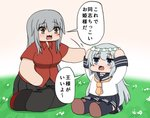 2girls black_skirt bokota_(bokobokota) breasts brown_eyes chibi commentary_request double_horizontal_stripe eyebrows_visible_through_hair fading flower gangut_(kantai_collection) grey_eyes grey_hair hair_between_eyes hair_flower hair_ornament hibiki_(kantai_collection) highres kantai_collection large_breasts long_hair long_sleeves looking_at_another looking_at_viewer miniskirt multiple_girls neckerchief on_grass outdoors pantyhose red_shirt sailor_collar school_uniform shirt short_sleeves silver_hair skirt speech_bubble translated white_flower yellow_neckwear