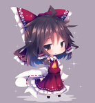1girl ahoge ascot beni_shake bow brown_eyes brown_hair chibi detached_sleeves full_body grey_background hair_bow hair_tubes hakurei_reimu long_sleeves looking_at_viewer ribbon-trimmed_sleeves ribbon_trim solo sparkle standing touhou triangle wide_sleeves