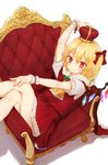 1girl alternate_headwear arm_up ascot bangs blonde_hair blush bow brooch cape commentary_request couch crown crystal eyebrows_visible_through_hair feet_out_of_frame flandre_scarlet frilled_ascot frills from_above fur_trim hair_between_eyes hair_bow hat honotai jewelry looking_at_viewer lying miniskirt on_back one_side_up petticoat pointy_ears puffy_short_sleeves puffy_sleeves red_bow red_cape red_eyes red_hat red_skirt red_vest shadow shirt short_hair short_sleeves simple_background skirt skirt_set smile solo thighs touhou vest white_background white_shirt wings wrist_cuffs yellow_neckwear