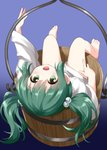 1girl :d bare_legs barefoot bottomless bucket commentary_request eyebrows_visible_through_hair feet gradient gradient_background green_eyes green_hair hair_bobbles hair_ornament highres in_bucket in_container japanese_clothes kisume long_hair long_sleeves looking_at_viewer lying on_back open_mouth purple_background ruu_(tksymkw) sitting smile solo touhou twintails upside-down wooden_bucket