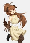 1girl :d ahoge anarchojs animal_ears back_bow bangs bell bell_collar black_footwear blunt_bangs bow breasts brown_eyes brown_gloves brown_hair brown_legwear cleavage collar collarbone dog_ears dog_tail dress elbow_gloves eyebrows_visible_through_hair floating_hair gloves grey_background grey_dress hair_between_eyes high_ponytail highres leg_up loafers long_hair medium_breasts open_mouth outstretched_arm pantyhose shoes short_dress simple_background sleeveless sleeveless_dress smile solo standing standing_on_one_leg tail taneshima_popura very_long_hair white_bow working!!