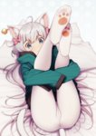 1girl :o ahoge animal_ears bell blue_eyes bow cat_ears cat_tail crotch_seam ear_piercing eromanga_sensei eventh7 feet full_body hair_bow highres hood hooded_jacket izumi_sagiri jacket jingle_bell kemonomimi_mode legs_up long_hair looking_at_viewer lying no_shoes on_back pantyhose paw_print piercing pillow pink_bow print_legwear silver_hair sleeves_past_wrists soles solo tail very_long_hair white_legwear