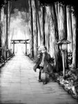 1girl absurdres ahoge commentary full_body greyscale hair_ornament highres jacket lantern looking_at_viewer monochrome outdoors road sasasa_(nashi) short_hair_with_long_locks sleeves_past_fingers sleeves_past_wrists smile torii tree vocaloid voiceroid wooden_lantern yuzuki_yukari