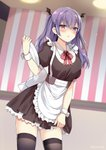 1girl apron artist_name bangs blush breasts brown_dress commentary_request dress hair_between_eyes highres holding holding_tray indoors kaetzchen long_hair looking_at_viewer maid maid_headdress open_mouth original puffy_short_sleeves puffy_sleeves purple_eyes purple_hair short_sleeves sidelocks skindentation solo thighhighs tray two_side_up waist_apron wrist_cuffs zettai_ryouiki