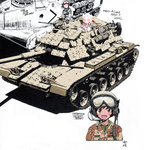 3girls akiyama_yukari artist_name blush camouflage caterpillar_tracks choco-chip_(camouflage) english girls_und_panzer goggles goggles_on_headwear ground_vehicle gulf_war headset helmet highres jumpsuit long_hair looking_at_another m60_patton main_battle_tank md5_mismatch military military_uniform military_vehicle motor_vehicle multiple_girls nakamura_3sou open_mouth operation_desert_storm partially_colored reactive_armor shadow short_hair signature simple_background sketch smile sss tank unfinished uniform white_background