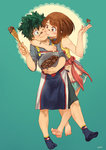 1boy 1girl apron barefoot blue_legwear blush_stickers boku_no_hero_academia bowl brown_eyes brown_hair chocolate chocolate_heart commentary couple eye_contact eyebrows_visible_through_hair food food_on_face freckles green_background green_eyes green_hair heart hetero highres holding hug justin_leyva_(steamy_tomato) looking_at_another midoriya_izuku one_eye_closed pants scar smile socks uraraka_ochako valentine
