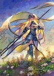 armor armored_dress benitama bird black_gloves blonde_hair dove fate/apocrypha fate_(series) flag gloves headpiece jeanne_d'arc_(fate) jeanne_d'arc_(fate)_(all) long_hair skirt thighhighs