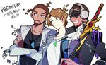 3boys blue_eyes brown_hair chris_(vocaloid) closed_mouth cravat creator_connection cyber_songman dark_skin dark_skinned_male green_eyes grey_jacket headphones holding holding_sword holding_weapon jacket jewelry ken_(vocaloid) male_focus multiple_boys necklace simple_background sunglasses sword triangle uoshi_(uoshi777) upper_body vocaloid vy2 vy2_(vocaloid3) weapon white_background