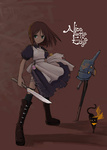 1girl alice_(wonderland) alice_in_wonderland boots brown_hair cat cheshire_cat dress green_eyes jewelry knife matsumae_takumi necklace peace_symbol scarf torn_clothes