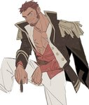 1boy abs beard blue_eyes brown_hair chest cigar commentary epaulettes facial_hair fate/grand_order fate_(series) horikwawataru jacket long_sleeves looking_at_viewer male_focus muscle napoleon_bonaparte_(fate/grand_order) open_clothes open_jacket pants pectorals scar sketch smile solo uniform white_background