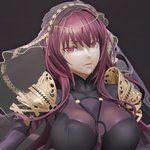 1girl 3d bodysuit boots breasts covered_nipples fate/grand_order fate_(series) high_heel_boots high_heels large_breasts leslyzerosix long_hair looking_at_viewer parted_lips pauldrons purple_hair red_eyes scathach_(fate/grand_order) solo veil