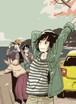2boys 2girls arms_up black_hair brown_hair brown_pants can car cherry_blossoms closed_mouth commentary_request green_jacket grin ground_vehicle hair_bun highres holding holding_can hosoo jacket long_skirt motor_vehicle mountain multiple_boys multiple_girls ocean open_mouth original outdoors pants pleated_skirt pointing profile shirt short_hair skirt smile standing striped striped_shirt suzuki_swift