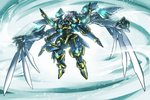 full_body glowing glowing_eyes ikaruga_(knight's_&_magic) ishiyumi knight's_&_magic mecha multiple_arms no_humans purple_eyes solo wings