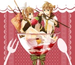 1boy 1girl brother_and_sister cup food fruit ice_cream in_container in_cup in_food kagamine_len kagamine_rin minigirl pocky sakuragi_kei siblings strawberry twins vocaloid