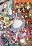 5boys 6+girls alice_(wonderland) alice_(wonderland)_(cosplay) alice_in_wonderland amakusa_juuza androgynous animal_ears bad_id bad_pixiv_id beatrice black_hair blonde_hair blue_eyes blue_flower blue_hair blue_rose brown_hair bunny_ears cat_ears chain cheshire_cat cheshire_cat_(cosplay) collar cosplay crown cup dormouse dormouse_(cosplay) dress facial_hair flower frederica_bernkastel furudo_erika grey_eyes grin hair_bobbles hair_flower hair_ornament hat kenkichi_kai lucifer mad_hatter mad_hatter_(cosplay) mammon monocle mouse_ears multiple_boys multiple_girls mustache pantyhose purple_eyes purple_hair queen_of_hearts queen_of_hearts_(cosplay) red_eyes red_hair ronove rose shaded_face silver_hair smile teacup teapot thighhighs twintails umineko_no_naku_koro_ni upside-down ushiromiya_ange ushiromiya_battler ushiromiya_lion ushiromiya_maria virgilia willard_h_wright