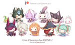 6+girls ahri animal_ears aqua_hair artist_name beancurd black_cape black_eyes black_hair black_hat black_skirt blue_dress blush_stickers cape chibi doll dress emilia_leblanc green_eyes grey_hair hair_over_one_eye hat headpiece heart hood horn knife kog'maw league_of_legends leona_(league_of_legends) multiple_girls nami_(league_of_legends) orange_hair patreon pink_hair pirate_hat pointy_ears ponytail purple_hair purple_skin red_eyes red_hair riven_(league_of_legends) sarah_fortune shield silver_hair skirt sona_buvelle soraka sword tabard twintails watermark weapon web_address white_hair xayah yellow_eyes zac