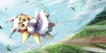 1girl :o blonde_hair chibi dollar flying fox_tail grass hands_in_opposite_sleeves hat long_sleeves multiple_tails pillow_hat rolling short_hair solo speed_lines tail tassel touhou wide_sleeves yakumo_ran yellow_eyes