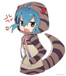 1girl ahoge anger_vein animal_ears aqua_hair commentary hands_in_pockets highres hood hoodie kemono_friends long_sleeves open_mouth puchiman ribbon short_hair snake_tail striped_hoodie striped_tail tail tsuchinoko_(kemono_friends)