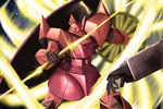 battle beam_saber energy_sword gelgoog_s_char_custom glowing glowing_eye gundam i.t.o_daynamics mecha mobile_suit_gundam no_humans realistic science_fiction shield sword tagme weapon
