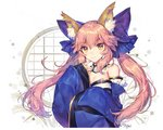 1girl animal_ears bare_shoulders blue_kimono blush bow breasts cleavage closed_eyes detached_collar detached_sleeves eyebrows_visible_through_hair fate/extra fate_(series) fox_ears hair_bow hand_up japanese_clothes kimono large_bow long_hair long_sleeves looking_at_viewer medium_breasts pink_eyes purple_bow shiny shiny_hair sidelocks sleeves_past_wrists smile solo soriya tamamo_(fate)_(all) tamamo_no_mae_(fate) twintails upper_body v-shaped_eyebrows white_background wide_sleeves window yellow_eyes