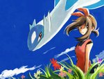 1girl blue_sky brown_eyes brown_hair cloud day flower frown gen_3_pokemon grass hairband haruka_(pokemon) latios legendary_pokemon long_hair looking_at_viewer pink_flower pokemon pokemon_(creature) pokemon_(game) pokemon_oras red_flower red_hairband red_shirt shirt sky solo tanbo-san tank_top