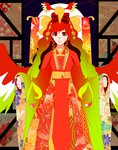 1girl bow facing_viewer floral_print hair_ornament hair_ribbon ho-oh japanese_clothes jiyu kimono personification pokemon red_eyes red_hair ribbon solo wings