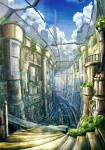 bad_id building city cityscape cloud k_kanehira original plant scenery science_fiction sign sky stairs