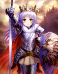 1girl absurdres angel_beats! armor crown goto_p highres leo lion long_hair shield silver_hair sword tenshi_(angel_beats!) thighhighs weapon yellow_eyes