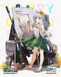 1girl animal_ears anti-materiel_rifle bangs blush braid breasts character_name choker closed_mouth dress easel flower full_body girls_frontline green_dress green_eyes green_hairband green_ribbon grey_hair gun hair_between_eyes hair_flower hair_ornament hair_over_shoulder hair_ribbon hairband holding_brush holding_easel ksvk_(girls_frontline) ksvk_12.7 long_hair looking_at_viewer official_art paintbrush painting painting_(object) pandea_work ponytail ribbon rifle sandals smile sniper_rifle solo standing sunflower table very_long_hair weapon younger
