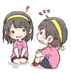 ! 2girls :d akb48 artist_name bangs black_eyes black_hair black_shorts blush_stickers chibi commentary_request hachimaki headband knees_up leg_hug long_hair mole_above_mouth multiple_girls murayama_yuiri notice_lines o_o okada_nana open_mouth pink_shirt real_life seiza shirt short_hair short_sleeves shorts simple_background sitting smile taneda_yuuta white_background