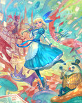 :d alice_(wonderland) alice_in_wonderland bangs blonde_hair blue_bow blue_dress blue_legwear blue_shoes blue_sky bow breathing_fire bunny buttons cane card castle cat checkered cheshire_cat closed_eyes cloud coattails crown dirigible dress drinking facial_hair fantasy fire flipped_hair frilled_dress frills from_below green_hat green_jacket green_shirt grin hair_bow hat heart high_collar highres holding holding_bottle jabberwock jacket lack long_hair long_sleeves looking_away mad_hatter march_hare mary_janes mushroom mustache necktie no_nose open_hand open_mouth playing_card pocket_watch polearm puffy_sleeves queen_of_hearts red_eyes red_nose shirt shoes sitting sky smile smoking_pipe spear staff table top_hat vertical_stripes watch weapon white_rabbit wind yellow_eyes yellow_jacket