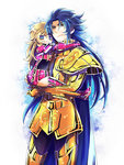 1boy 1girl armor bad_id bad_pixiv_id blonde_hair blue_eyes blue_hair cape carrying child full_armor gemini_kanon long_hair mermaid_thetis open_mouth saint_seiya shichimiso simple_background smile younger