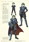 1boy alm_(fire_emblem) armor character_name character_profile character_sheet child fire_emblem fire_emblem_echoes:_mou_hitori_no_eiyuuou full_body gauntlets gloves green_eyes green_hair hard_translated headband hidari_(left_side) highres male_focus multiple_views non-web_source official_art scan shield short_hair smile spoilers third-party_edit