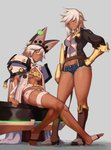 2girls belt beltbra blazblue blazblue:_chronophantasma breasts bullet_(blazblue) cape cleavage clover commentary_request company_connection creature dark_skin denim denim_shorts four-leaf_clover full_body gauntlets gloves guilty_gear guilty_gear_xrd hair_between_eyes hat highres huge_weapon jacket look-alike looking_at_viewer medium_breasts multiple_girls open_clothes orange_eyes ramlethal_valentine short_hair short_shorts shorts simple_background sitting suwaiya thick_thighs thigh_strap thighs underboob weapon white_hair yellow_eyes
