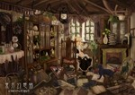 1girl animal basket blonde_hair book bow broom buta_(jason13dead) cat chair cupboard desk fireplace flower hat hat_removed headwear_removed highres kirisame_marisa lamp lantern looking_back messy messy_room mirror mushroom reflection room sign sitting solo touhou vase window witch_hat