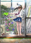 1girl absurdres arm_up barefoot blue_skirt brown_hair chromatic_aberration closed_eyes clothes_hanger commentary_request day facing_viewer fan flower flower_box full_body highres laundry long_hair morning_glory original plant potted_plant railing rika_syakai school_uniform shirt skirt smile socks_removed solo standing themed_object watering_can white_shirt