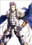 1boy armor cape commentary_request cross fate/grand_order fate_(series) gauntlets hand_on_hip holding holding_sword holding_weapon kei-suwabe lancelot_(fate/grand_order) looking_at_viewer plate_armor purple_eyes purple_hair shoulder_armor smile solo spiked_hair sword twitter_username weapon white_background