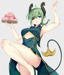 1girl ahoge alternate_costume arm_up armpits bare_arms bare_legs bare_shoulders braid breasts chestnut_mouth china_dress chinese_clothes commentary convenient_leg cowboy_shot demon_girl demon_horns demon_tail dress eyepatch flats floating_hair green_dress green_eyes green_footwear green_hair grey_background hand_up highres holding holding_tray honey_strap horns irohasu knee_up long_hair looking_at_viewer medium_breasts parted_lips pelvic_curtain pointy_ears sekishiro_mico sidelocks simple_background single_braid sleeveless sleeveless_dress solo standing standing_on_one_leg tail thighs tray underboob virtual_youtuber