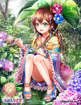 1girl anklet blush bracelet brown_hair flower green_eyes hair_flower hair_ornament high_heels hydrangea japanese_clothes jewelry kimono leaf_umbrella legs long_hair nature necklace ozon rain sandals sitting smile snail solo toes