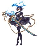 1girl alice_(sinoalice) black_hair chain crossed_legs elbow_gloves eyebrows_visible_through_hair frilled_skirt frills full_body gloves hair_ribbon jino looking_at_viewer official_art puffy_sleeves red_eyes ribbon short_hair sinoalice skirt solo sword thighhighs transparent_background watson_cross weapon
