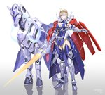 absurdres armor artoria_pendragon_(all) artoria_pendragon_(lancer) blonde_hair blue_eyes blue_legwear breasts cape cleavage commentary_request crown dun_stallion fate/grand_order fate_(series) highres large_breasts mechanical_horse mechanization polearm rhongomyniad sohn_woohyoung spear thighhighs weapon