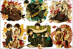 3girls 6+boys akina422 ao_no_exorcist backpack bad_id bad_pixiv_id bag beads black_hair blonde_hair book brothers cat chopsticks eating fang flower food green_eyes headphones highres houjou_mamushi japanese_clothes kamiki_izumo khakkhara long_hair miwa_konekomaru moriyama_shiemi multiple_boys multiple_girls okumura_rin okumura_yukio prayer_beads rice scroll shakujou shima_juuzou shima_kinzou shima_renzou short_hair siblings snake staff suguro_ryuuji tattoo white_hair younger