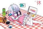1girl ass beads blue_eyes capelet character_doll chips doritos doughnut dragon_girl dragon_horns dragon_tail dress dunkin'_donuts envysoi food from_behind gradient_hair hair_beads hair_ornament handheld_game_console headphones headphones_removed highres horns kanna_kamui kobayashi-san_chi_no_maidragon kobayashi_(maidragon) long_hair long_sleeves lying multicolored_hair on_stomach panties pantyshot pantyshot_(lying) pastry_box playstation_portable pringles purple_hair short_dress silver_hair solo tail thighhighs toeless_legwear tooru_(maidragon) twintails underwear white_legwear white_panties
