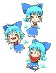 1girl :d >:) >:d ahoge barefoot bloomers blue_bow blue_dress blue_hair blush_stickers bow bowtie chamaji chibi cirno commentary crossed_arms dress eating food fruit hair_between_eyes hair_bow highres ice ice_wings multiple_views neck_ribbon open_mouth outstretched_arms red_bow red_bowtie red_ribbon ribbon short_hair short_sleeves simple_background smile solo spread_arms touhou underwear watermelon white_background white_bloomers wings