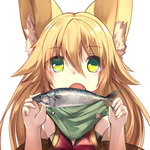 1girl animal_ears bangs blonde_hair commentary_request eyebrows_visible_through_hair fingernails fish fox_ears green_eyes green_scarf haik hair_between_eyes hands_up holding long_hair looking_at_viewer open_mouth original scarf simple_background solo upper_body white_background