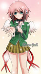 1girl :o ahoge akashiya_moka akashiya_moka_(cosplay) artist_name blue_eyes blush breasts brown_hair brown_skirt chain collar collared_shirt commentary_request cosplay cross eyebrows_visible_through_hair feathered_wings gradient gradient_background gradient_hair green_shirt hair_between_eyes hair_ribbon head_tilt highres holding_cross ikaros ikarosgrell light_particles long_hair long_sleeves looking_at_viewer low_twintails medium_breasts multicolored_hair outstretched_arm parted_lips pink_background pink_hair plaid plaid_skirt pleated_skirt pocket red_ribbon ribbon robot_ears rosario+vampire school_uniform shirt sidelocks skirt solo sora_no_otoshimono standing twintails very_long_hair white_shirt white_wings wings yellow_background