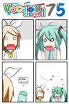 2girls 4koma aqua_hair ascot blonde_hair bow catstudioinc_(punepuni) cockroach collared_shirt comic hair_bow hatsune_miku highres insect kagamine_rin left-to-right_manga multiple_girls necktie o_o open_mouth peter_(miku_plus) spray_can thai translation_request twintails vocaloid