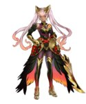 1girl armor bangs bare_shoulders belt breasts dark_skin elbow_gloves feather_trim feathers fire_emblem fire_emblem_heroes full_body gauntlets gloves gradient gradient_hair hair_ornament highres holding holding_sword holding_weapon laevateinn_(fire_emblem_heroes) long_hair looking_at_viewer maeshima_shigeki medium_breasts multicolored_hair official_art parted_lips red_eyes smile solo standing sword thighhighs transparent_background weapon